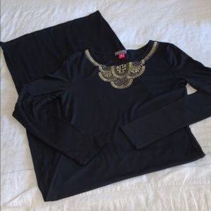 Vince Camuto Gold Stud Black Maxi Dress XS